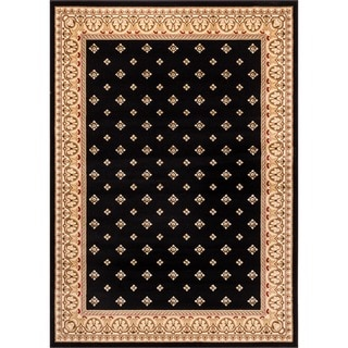 Dallas Formal European Floral Border Diamond Field Black, Beige, and Ivory Area Rug (7'10 x 9'10)
