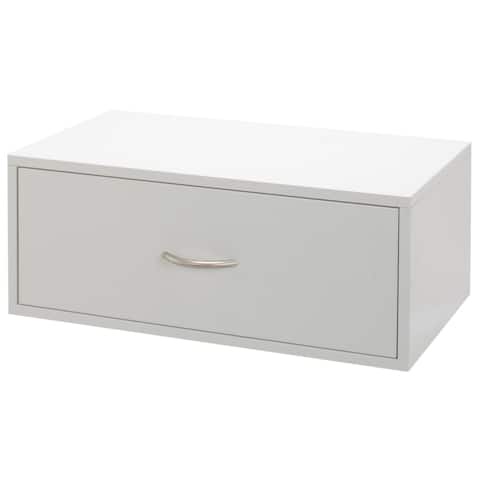 Organized Living freedomRail White Double Hang O-Box 1-Drawer Shelf