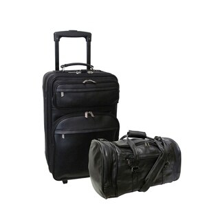 Amerileather Black Leather 2-piece Carry-on Luggage Set