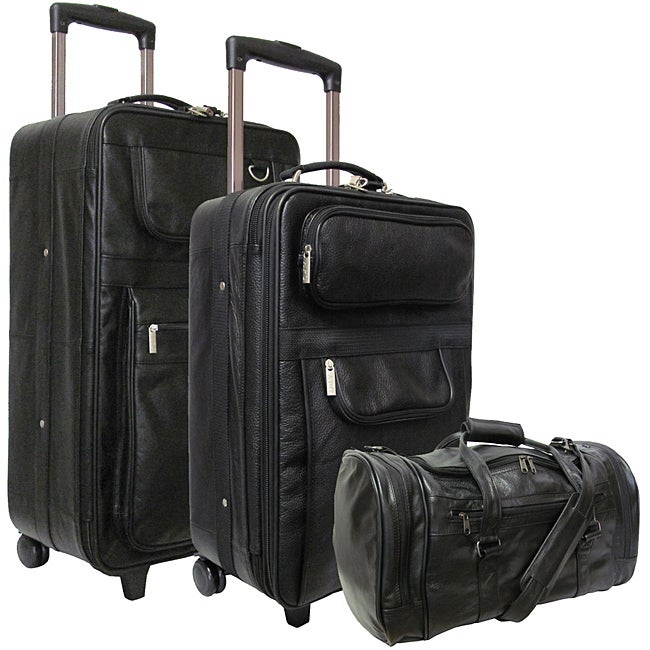 Amerileather Black Leather 3-piece Luggage Set - Free Shipping ...