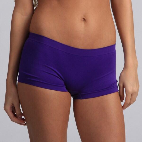 Jennifer Intimates Women's Purple Nylon/Spandex Boyshorts