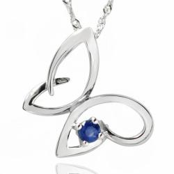 De Buman 0.16ctw Genuine Sapphire and Solid 925 Silver Necklace