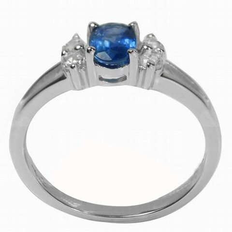 De Buman Sterling Silver Elegant Sapphire and Cubic Zirconia Ring
