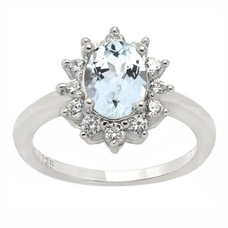De Buman Sterling Silver Aquamarine and Cubic Zirconia Ring