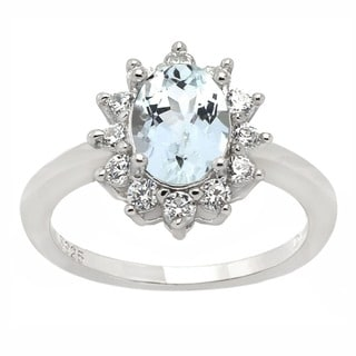 De Buman Sterling Silver Aquamarine and Cubic Zirconia Ring