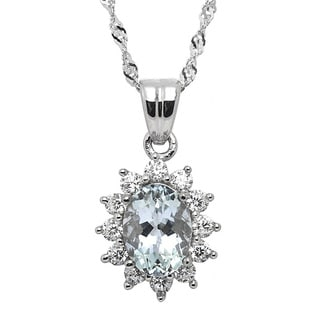 De Buman Sterling Silver Aquamarine and Cubic Zirconia Necklace