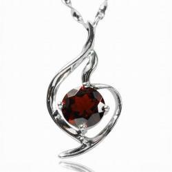 De Buman Sterling Silver Garnet Necklace