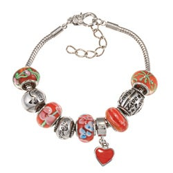 La Preciosa Silverplated Red Glass Bead Charm Bracelet