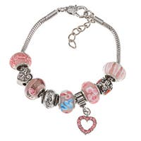 La Preciosa Silverplated Pink Glass Bead Mom Charm Bracelet