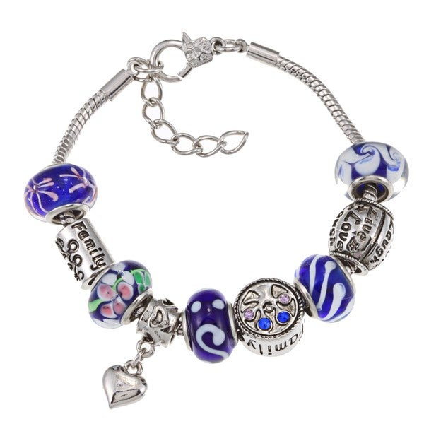 La Preciosa Silverplated Blue Glass Bead Charm Bracelet