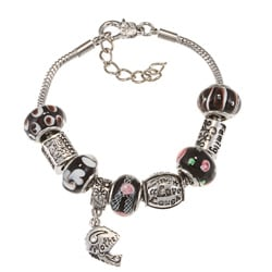 La Preciosa Silverplated Black Glass Bead Charm Bracelet