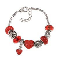 La Preciosa Silverplated Red Glass Bead and Red Enamel Charm  Bracelet