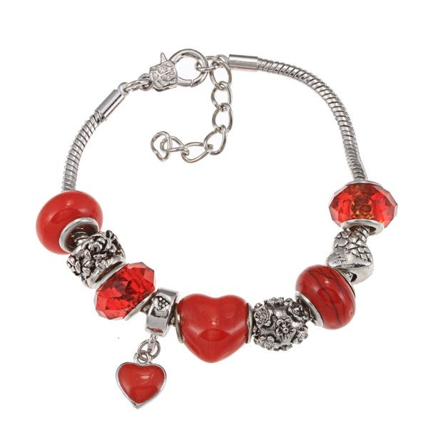 La Preciosa Silverplated Red Glass Bead and Red Enamel Charm Bracelet