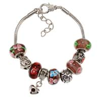 La Preciosa Silverplated Purple Glass Bead Charm  Bracelet
