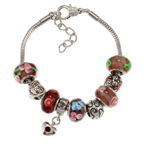La Preciosa Silverplated Purple Glass Bead Charm Bracelet
