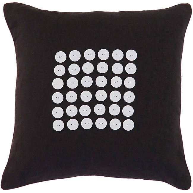 Canberra Black/ White Button Decorative Pillow