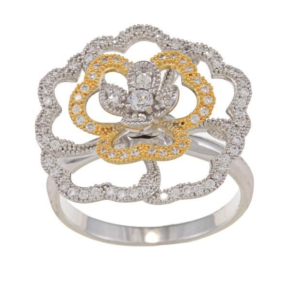 La Preciosa Two-tone Sterling Silver Clear Cubic Zirconia Rose Ring