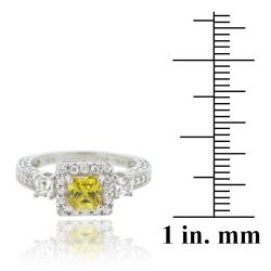 Icz Stonez Sterling Silver Light Yellow Cubic Zirconia Ring (2 3/4ct TGW)