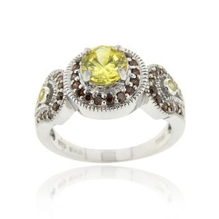 Icz Stonez Sterling Silver Three Circled Yellow Cubic Zirconia Ring