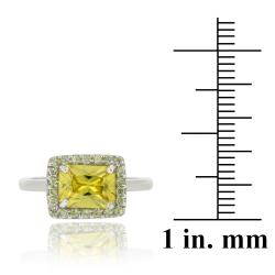 Icz Stonez Sterling Silver Light Yellow Cubic Zirconia Ring (10 7/8ct TCW) - Thumbnail 2