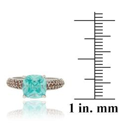 Icz Stonez Sterling Silver Blue and Brown Cubic Zirconia Ring (4 2/5ct TGW) - Thumbnail 2