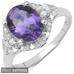 Malaika Sterling Silver Oval-cut Prong-set Gemstone and Round White Topaz Ring