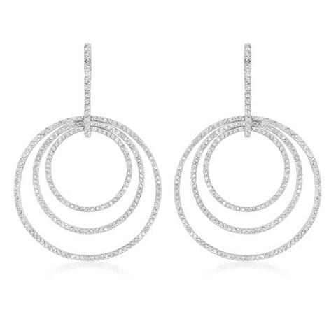 Collette Z Sterling Silver Cubic Zirconia Triple Circle Earrings