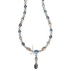 Collette Z Sterling Silver Multi-colored Cubic Zirconia Necklace