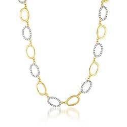 Collette Z Sterling Silver and Vermeil Cubic Zirconia Oval Link Necklace