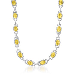 Collette Z Sterling Silver Clear Cubic Zirconia Oval Hammered Link Necklace