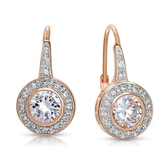 Collette Z Sterling Silver Cubic Zirconia Bezel Halo Dangle Earrings (Option: Rose Plated)