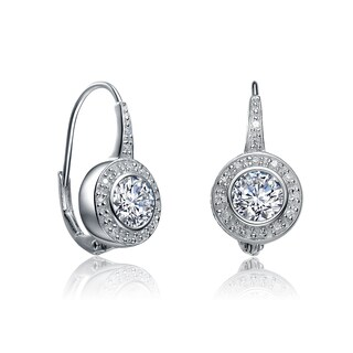 Collette Z Sterling Silver Cubic Zirconia Bezel Halo Dangle Earrings (2 options available)