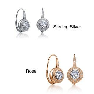 Collette Z Sterling Silver Cubic Zirconia Bezel Halo Dangle Earrings