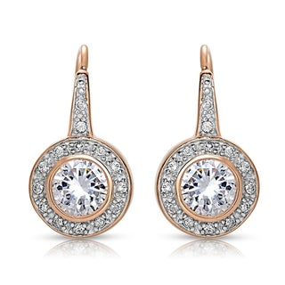 Link to Collette Z Sterling Silver with Rhodium Plated Clear Round Cubic Zirconia Bezel Halo Dangle Earrings Similar Items in Earrings