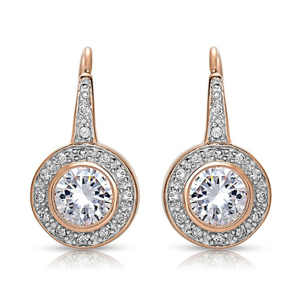 Collette Z Sterling Silver with Rhodium Plated Clear Round Cubic Zirconia Bezel Halo Dangle Earrings