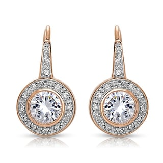 Collette Z Sterling Silver Cubic Zirconia Bezel Halo Dangle Earrings