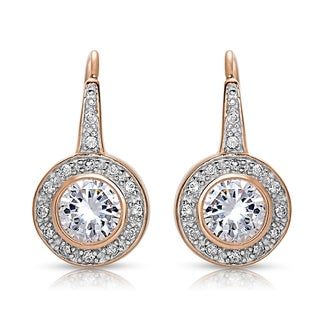 Collette Z Sterling Silver Cubic Zirconia Bezel Halo Dangle Earrings (3 options available)