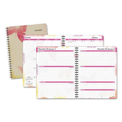 AT-A-GLANCE Watercolors Weekly/Monthly Planner, 11 x 8 1/2, Watercolors, 2020-2021