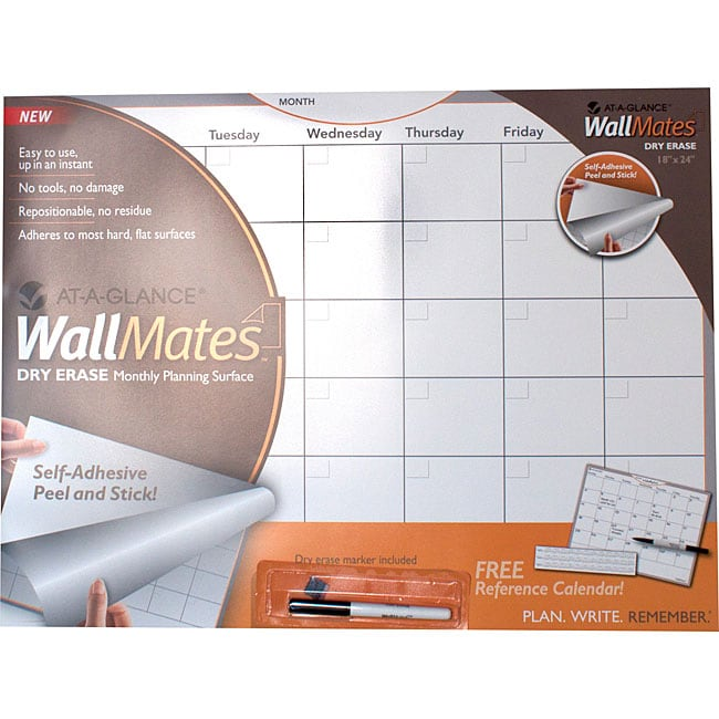 At-A-Glance White Wallmates Self-Adhesive Dry-Erase Monthly Planning Surface (24x 18)