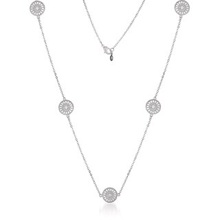 Collette Z Sterling Silver Clear Cubic Zirconia Filigree Lace Necklace