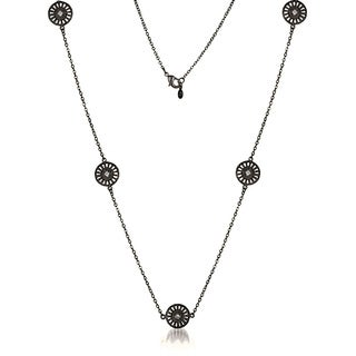 Collette Z Black-plated Sterling Silver Clear Cubic Zirconia Filigree Lace Necklace