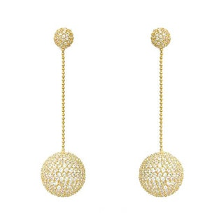 Collette Z Gold over Silver Clear Cubic Zirconia Disco Ball Dangle Earrings