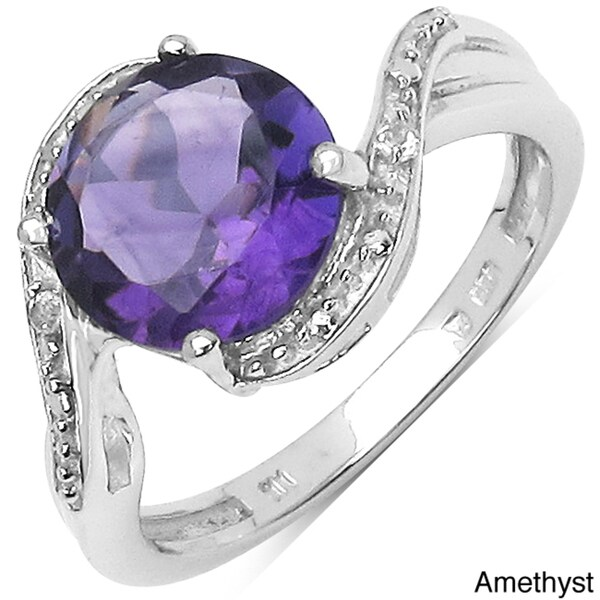 Malaika Sterling Silver Gemstone and White Topaz Highly Polished Ring