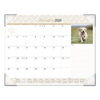 AT-A-GLANCE Puppies Monthly Desk Pad Calendar, 22 x 17, 2018