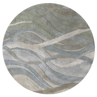 Alliyah Handmade Silver Grey, Highlight Grey/Green, and Light Rust New Zeeland Blend Wool Rug (6' Round)