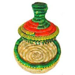 Medium Multi-Colored Pointed Lid Wicker Basket (Ethiopia) - Thumbnail 1