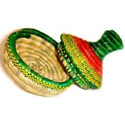 Medium Multi-Colored Pointed Lid Wicker Basket (Ethiopia) - Thumbnail 2