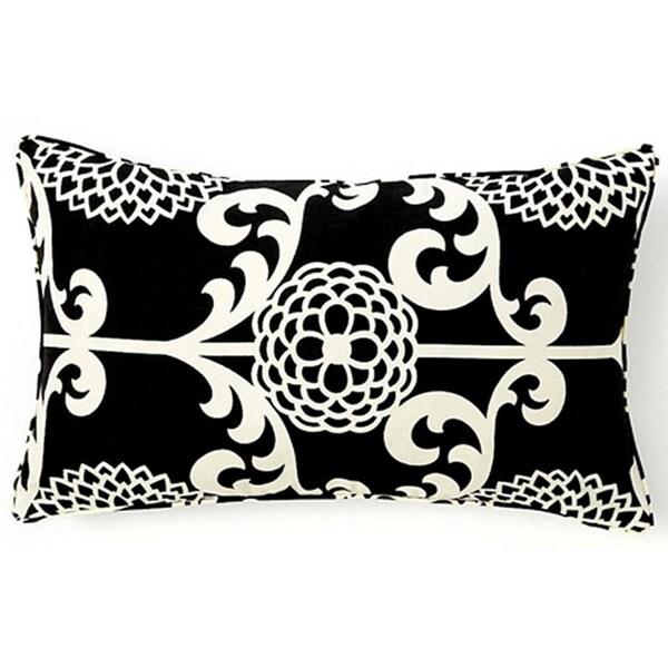 Handmade Floret Black Decorative Pillow