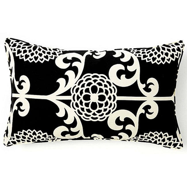 Floret Black Cotton Decorative Pillow - Thumbnail 0