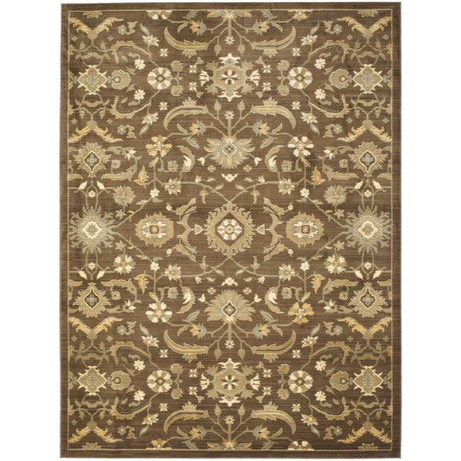 Safavieh Oushak Brown/ Green Powerloomed Rug (6'7 x 9'1)